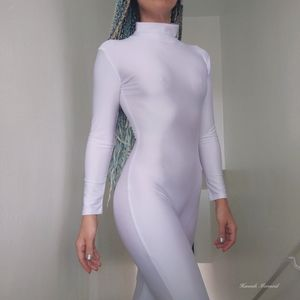 White stretch bodysuit catsuit onesie